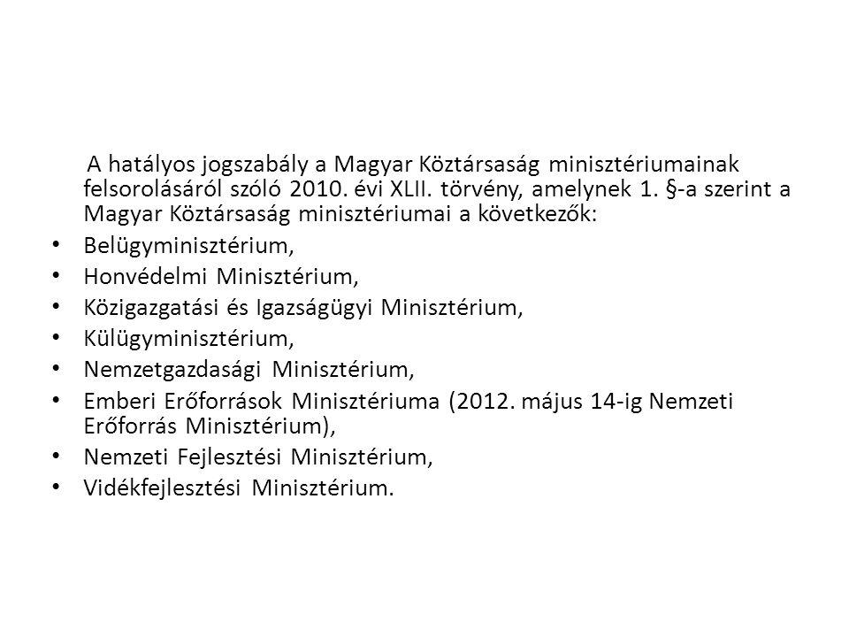 A hatályos jogszabály a Magyar Köztársaság minisztériumainak felsorolásáról szóló 2010. évi XLII. törvény, amelynek 1. §-a szerint a Magyar Köztársaság minisztériumai a következők: