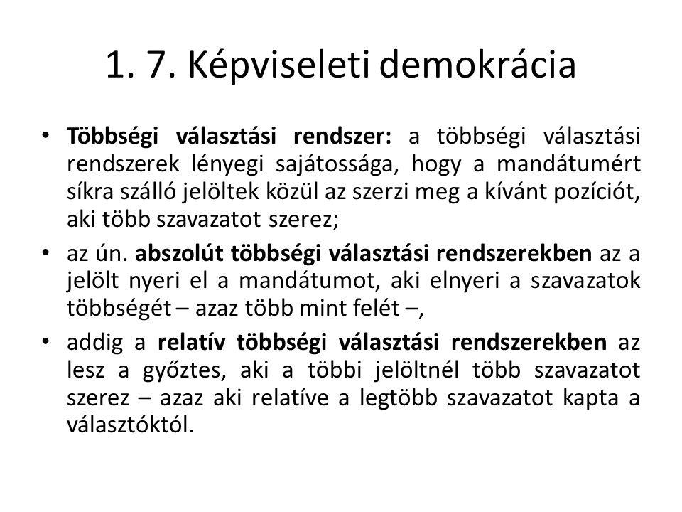 1. 7. Képviseleti demokrácia