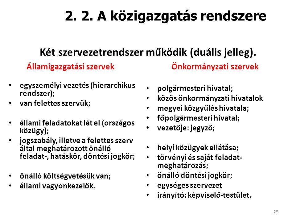 2. 2. A közigazgatás rendszere