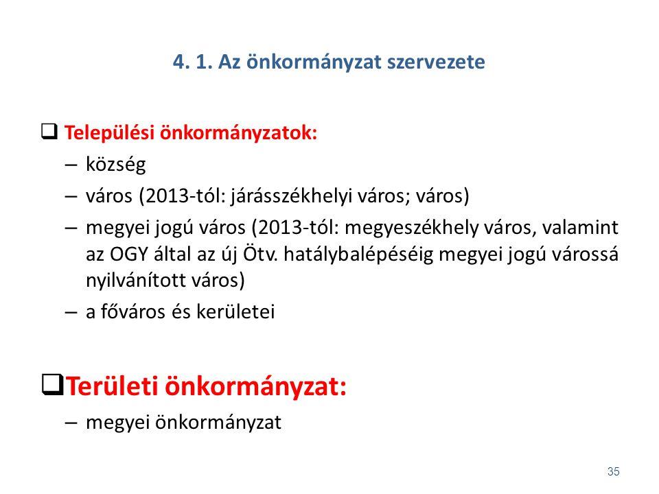 4. 1. Az önkormányzat szervezete