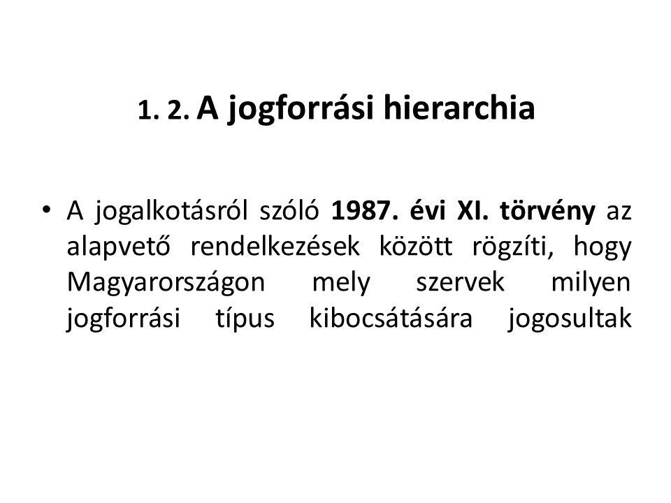 1. 2. A jogforrási hierarchia