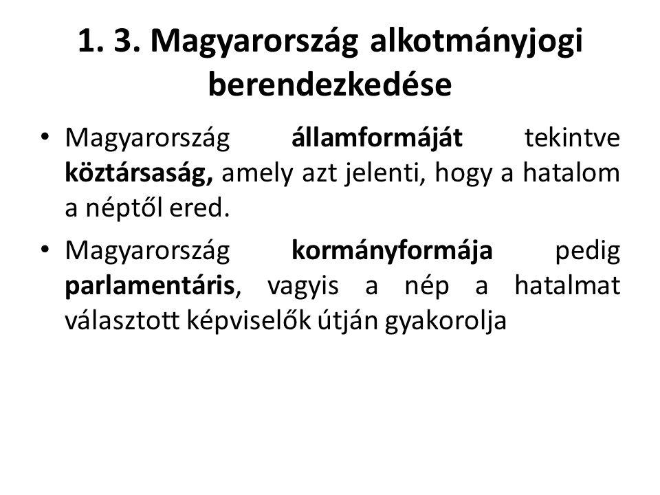 1. 3. Magyarország alkotmányjogi berendezkedése