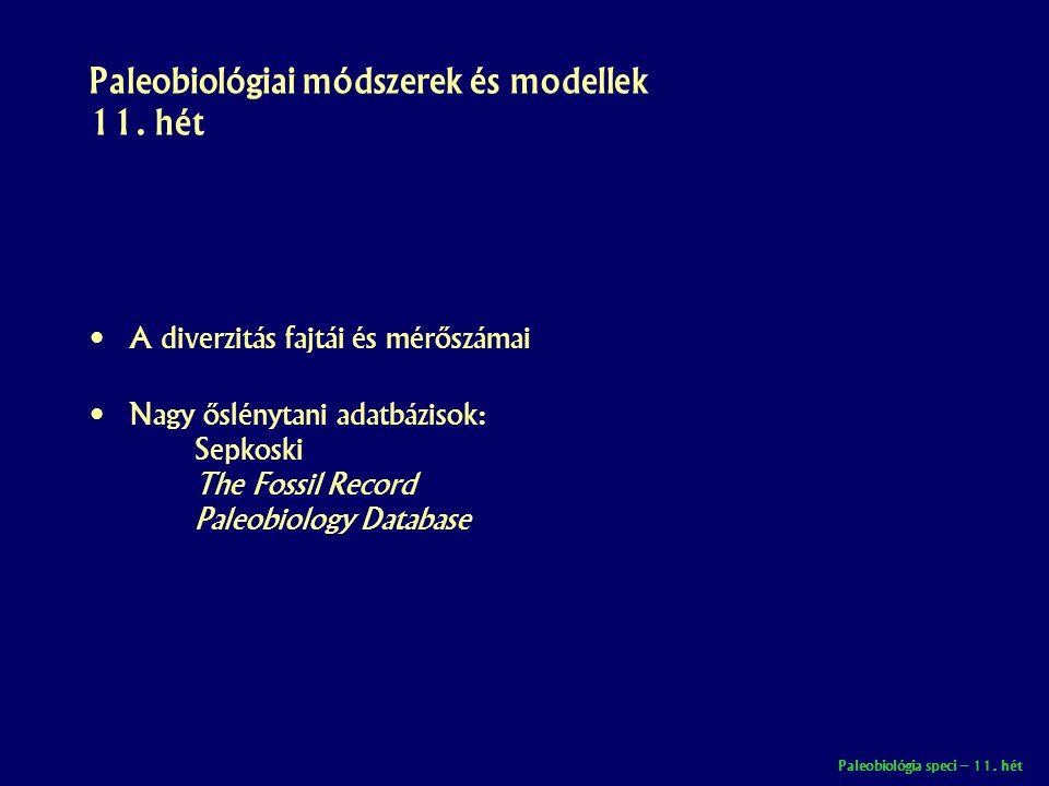 Paleobiológiai módszerek és modellek 11. hét