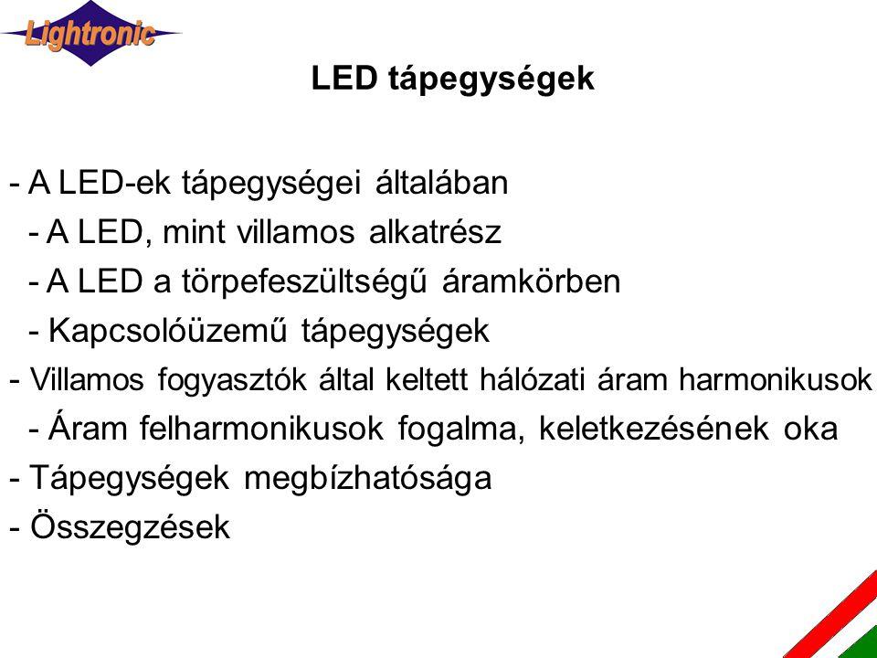 LED tápegységek - A LED-ek tápegységei általában. - A LED, mint villamos alkatrész. - A LED a törpefeszültségű áramkörben.
