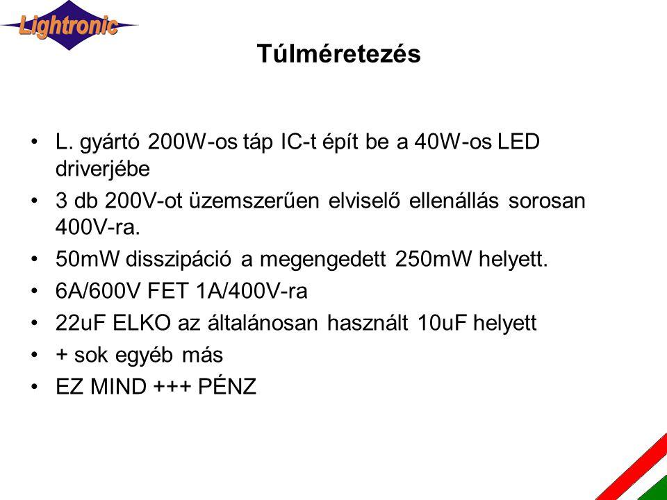 Túlméretezés L. gyártó 200W-os táp IC-t épít be a 40W-os LED driverjébe. 3 db 200V-ot üzemszerűen elviselő ellenállás sorosan 400V-ra.