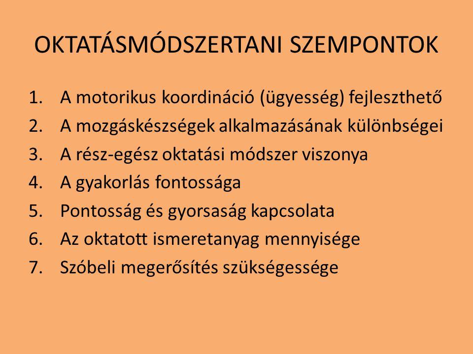 OKTATÁSMÓDSZERTANI SZEMPONTOK