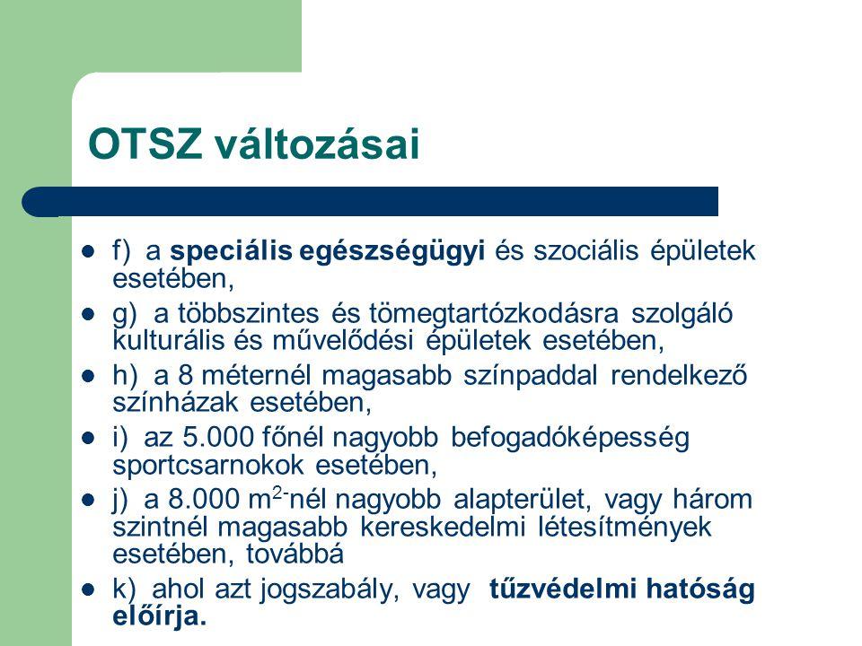 OTSZ változásai f) a speciális egészségügyi és szociális épületek esetében,
