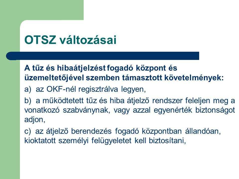 OTSZ változásai A tűz és hibaátjelzést fogadó központ és üzemeltetőjével szemben támasztott követelmények: