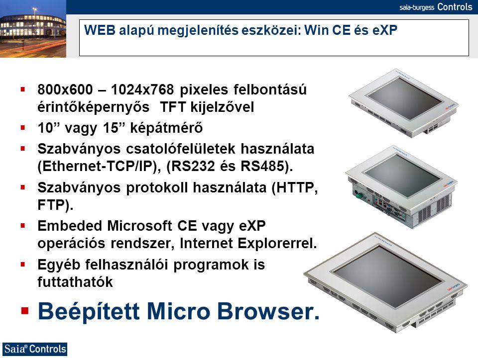 WEB alapú megjelenítés eszközei: Win CE és eXP