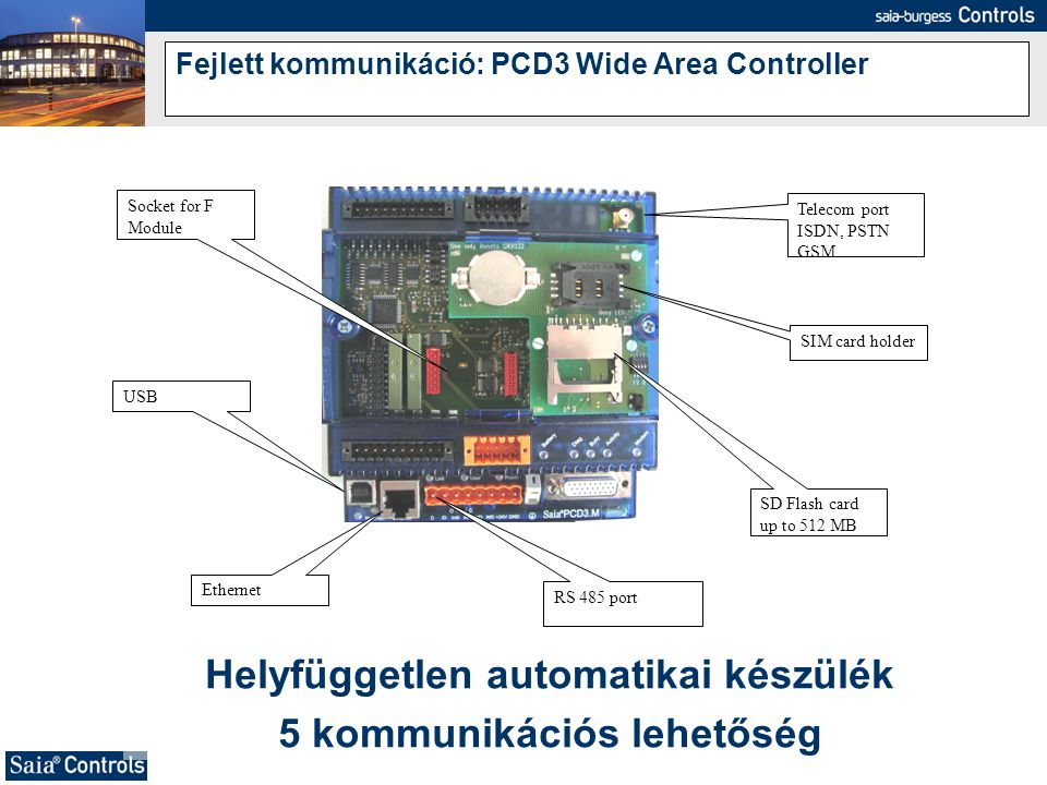 Fejlett kommunikáció: PCD3 Wide Area Controller
