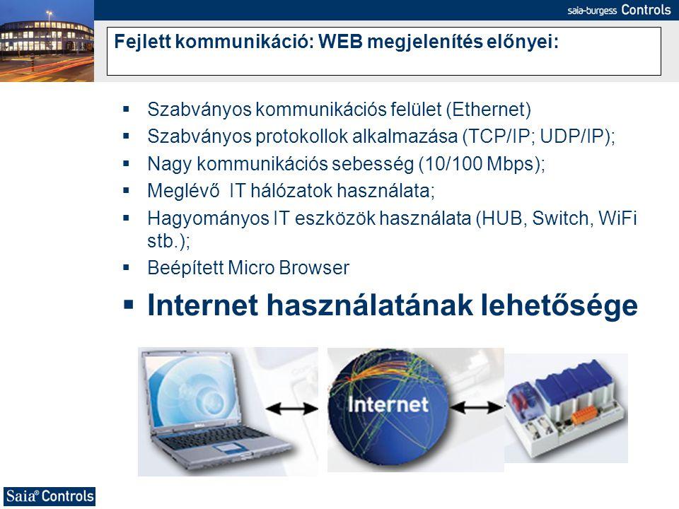 Fejlett kommunikáció: WEB megjelenítés előnyei: