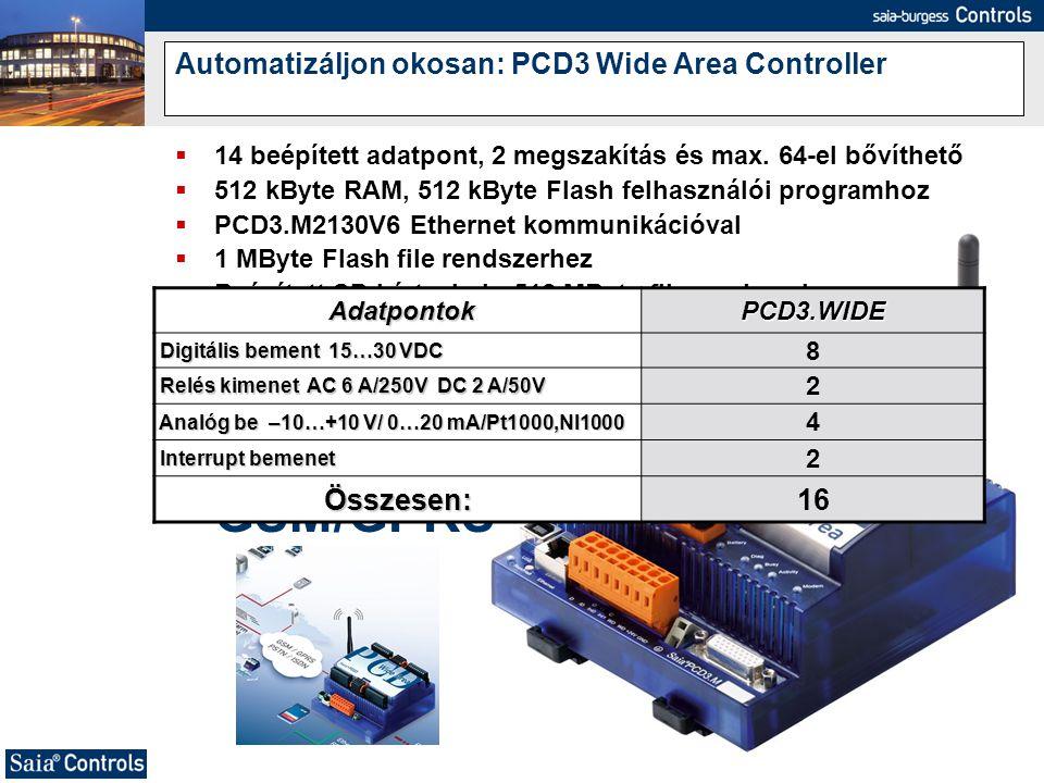 Automatizáljon okosan: PCD3 Wide Area Controller