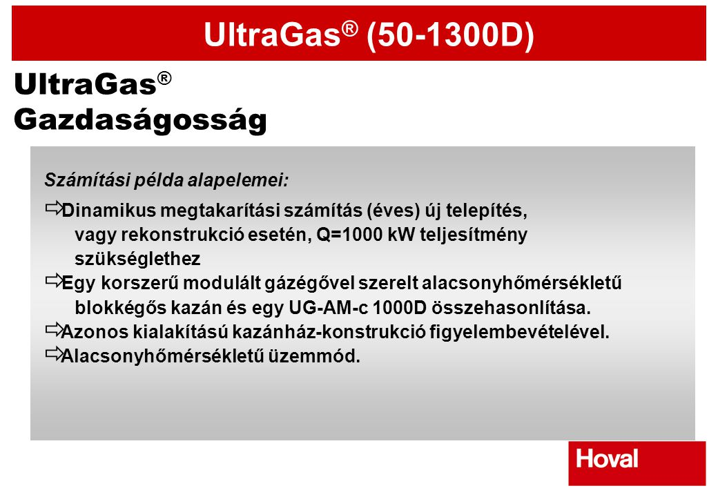 UltraGas® Gazdaságosság