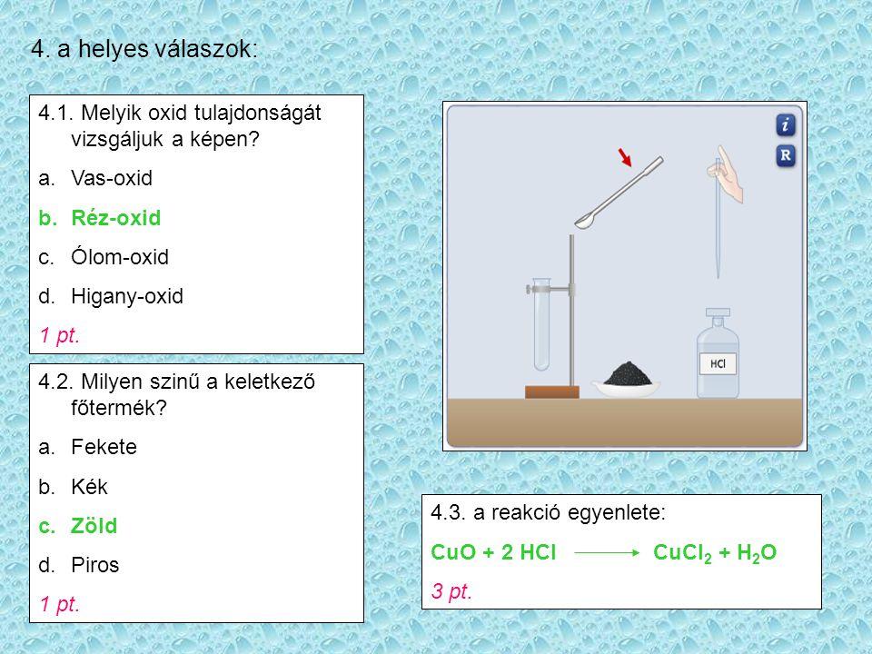 4. a helyes válaszok: 4.1. Melyik oxid tulajdonságát vizsgáljuk a képen Vas-oxid. Réz-oxid. Ólom-oxid.