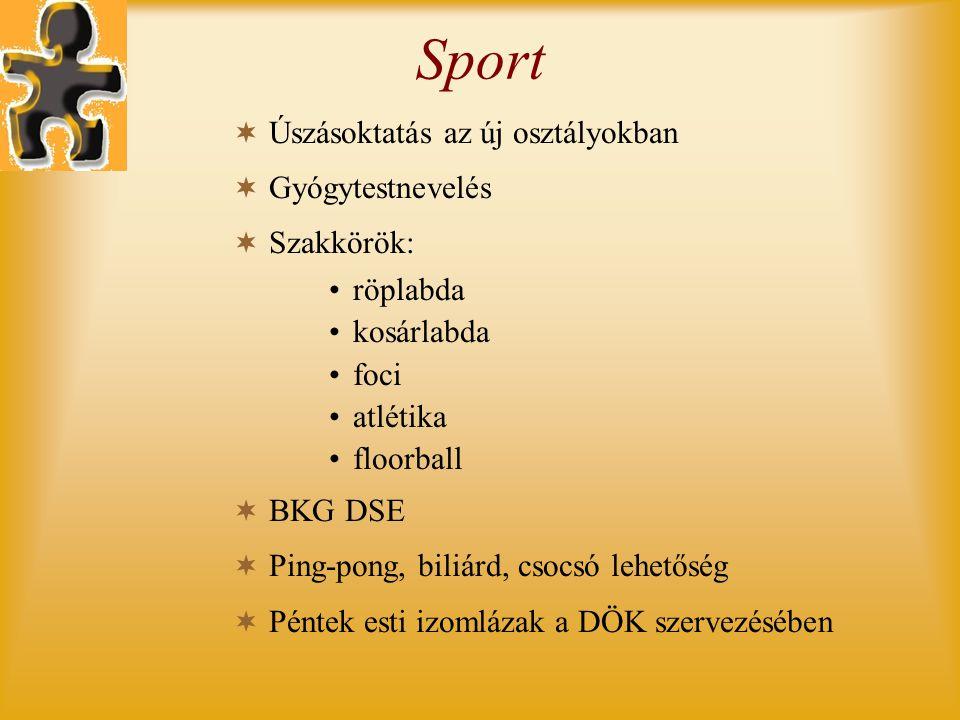 Sport Úszásoktatás az új osztályokban Gyógytestnevelés Szakkörök: