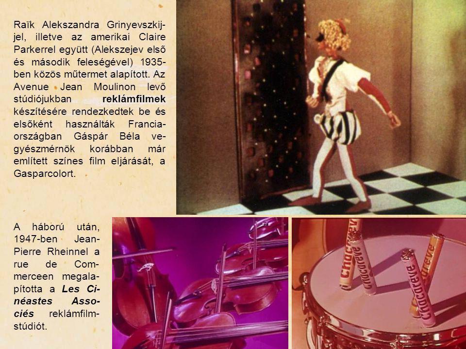 Raïk Alekszandra Grinyevszkij-jel, illetve az amerikai Claire Parkerrel együtt (Alekszejev első és második feleségével) 1935-ben közös műtermet alapított. Az Avenue Jean Moulinon levő stúdiójukban reklámfilmek készítésére rendezkedtek be és elsőként használták Francia-országban Gáspár Béla ve-gyészmérnök korábban már említett színes film eljárását, a Gasparcolort.