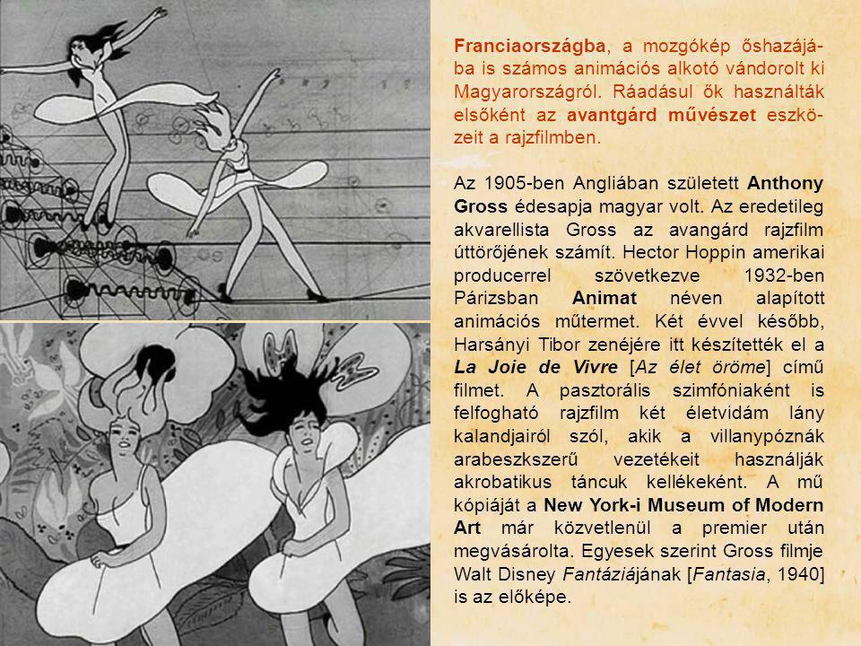 Franciaországba, a mozgókép őshazájá-ba is számos animációs alkotó vándorolt ki Magyarországról. Ráadásul ők használták elsőként az avantgárd művészet eszkö-zeit a rajzfilmben.