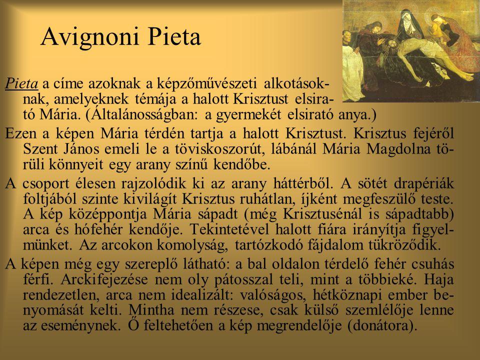 Avignoni Pieta Pieta a címe azoknak a képzőművészeti alkotások- nak, amelyeknek témája a halott Krisztust elsira-
