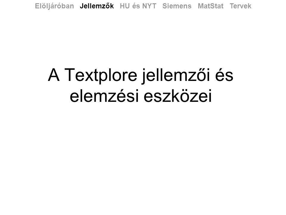 A Textplore jellemzői és elemzési eszközei