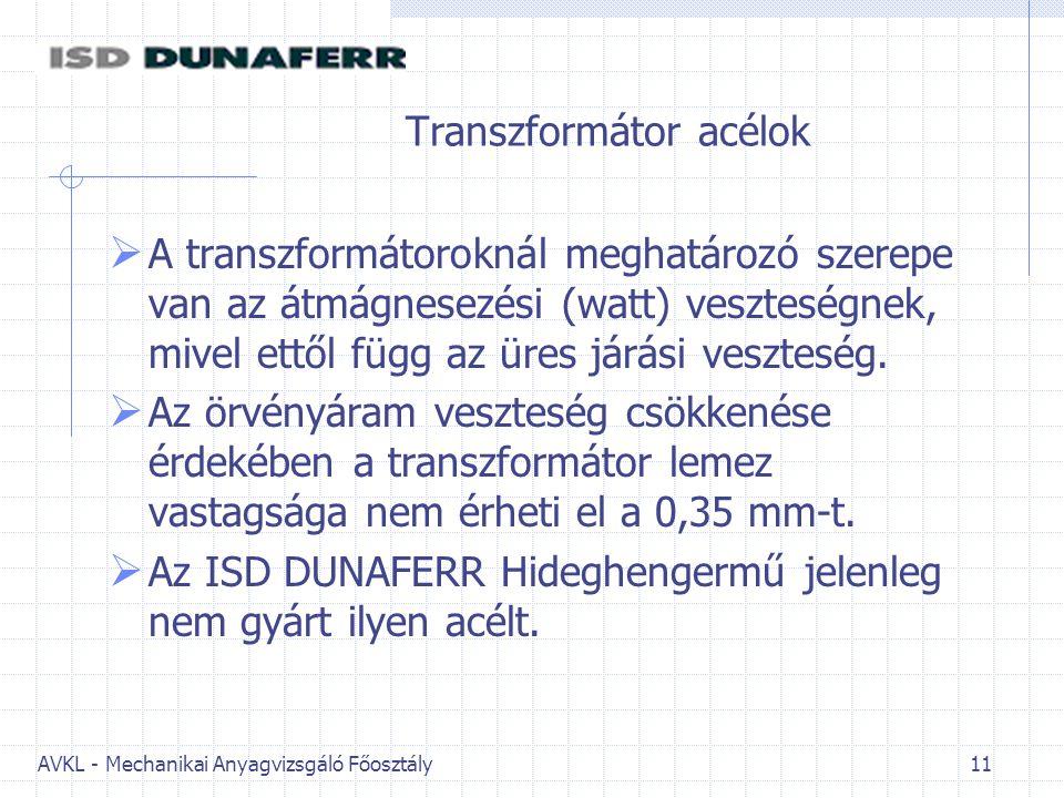 Transzformátor acélok
