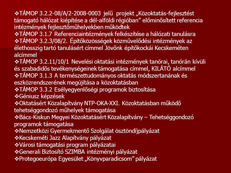 """TÁMOP 3.2.2-08/A/2-2008-0003 jelű projekt """"Közoktatás-fejlesztést támogató hálózat kiépítése a dél-alföldi régióban előminősített referencia intézmények fejlesztőműhelyekben működtek"""