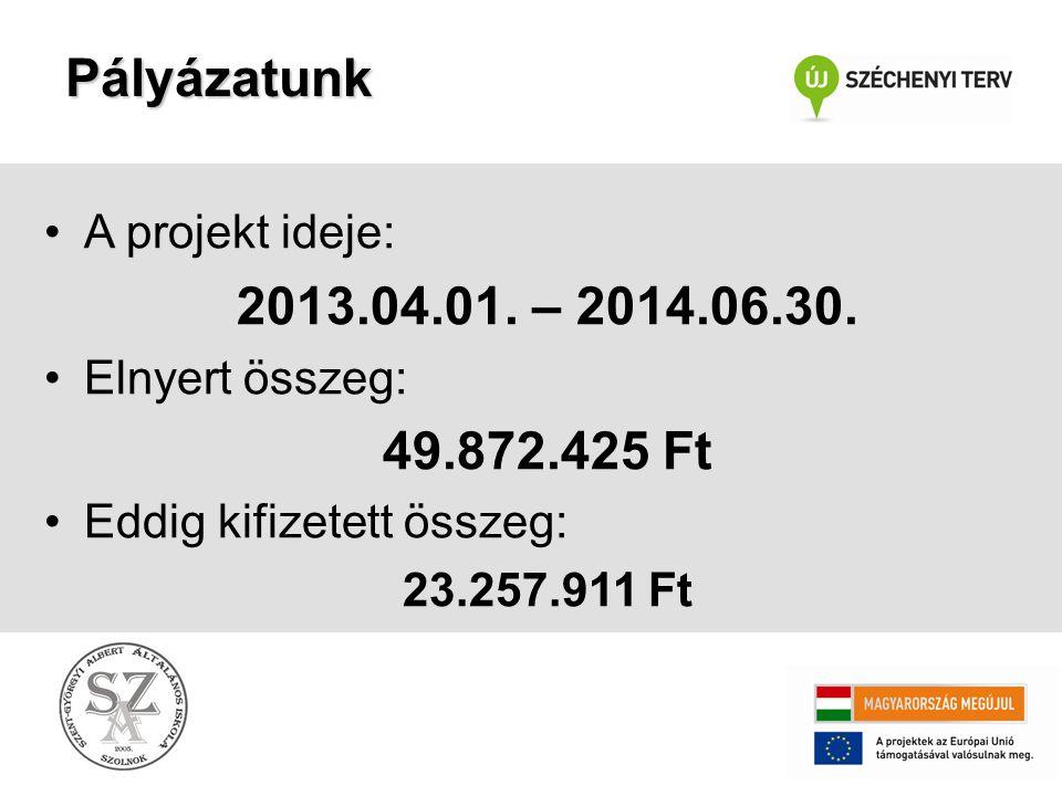 Pályázatunk 2013.04.01. – 2014.06.30. 49.872.425 Ft A projekt ideje: