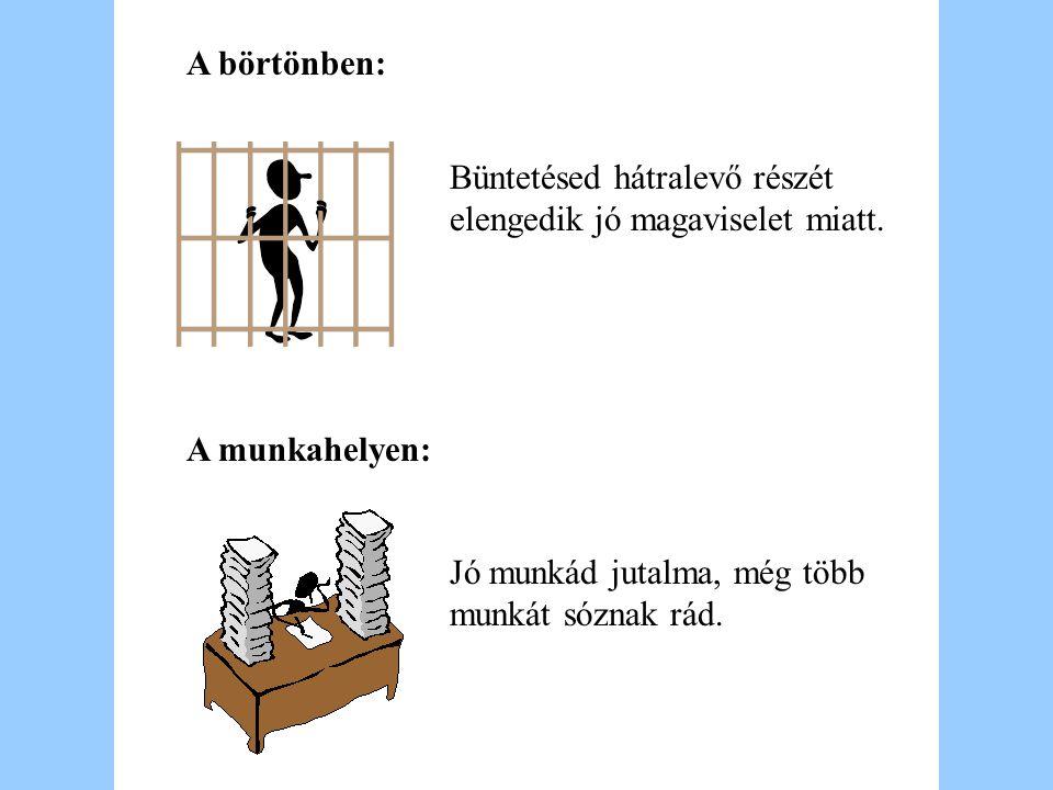 A börtönben: Büntetésed hátralevő részét elengedik jó magaviselet miatt.