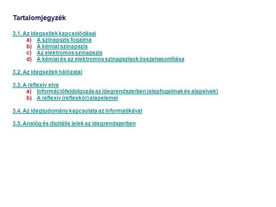 Tartalomjegyzék 3.1. Az idegsejtek kapcsolódásai A szinapszis fogalma