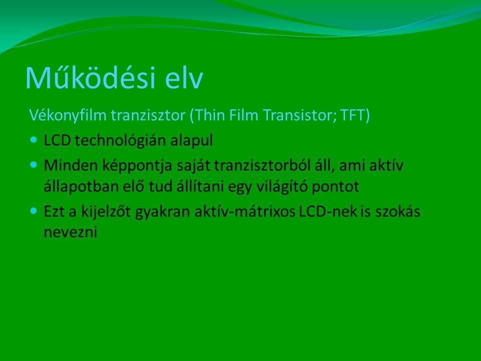 Működési elv Vékonyfilm tranzisztor (Thin Film Transistor; TFT)