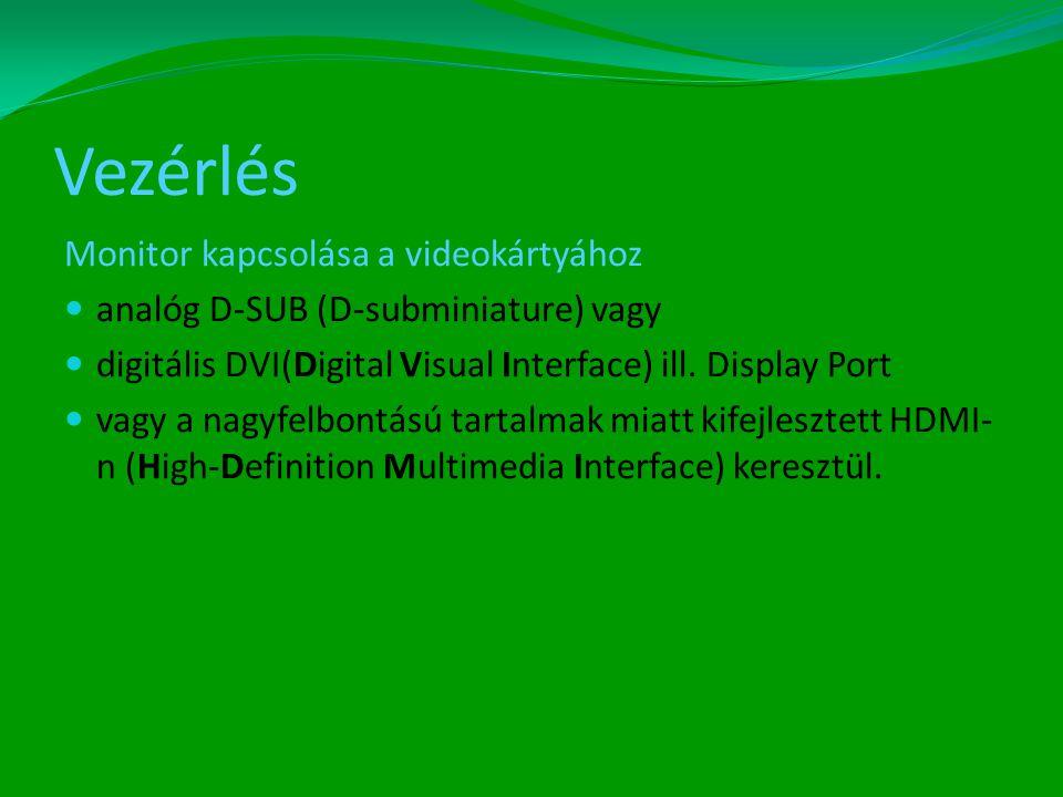 Vezérlés Monitor kapcsolása a videokártyához