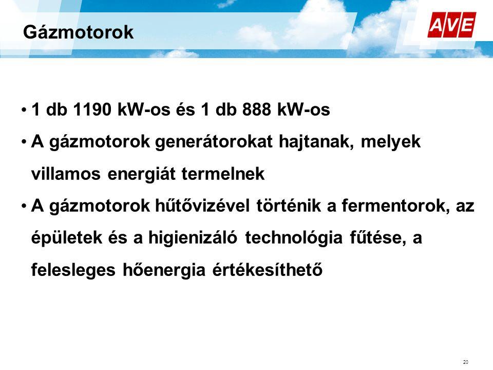 Gázmotorok 1 db 1190 kW-os és 1 db 888 kW-os