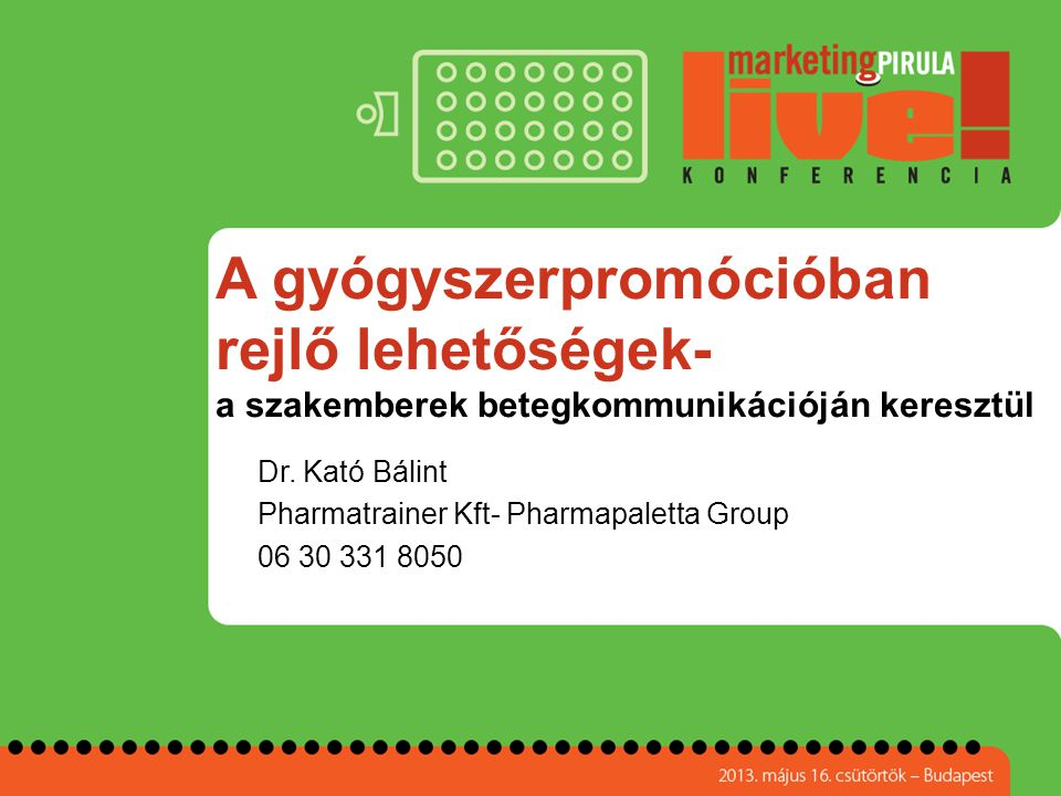 Dr. Kató Bálint Pharmatrainer Kft- Pharmapaletta Group 06 30 331 8050
