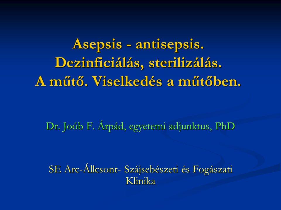 Asepsis - antisepsis. Dezinficiálás, sterilizálás. A műtő