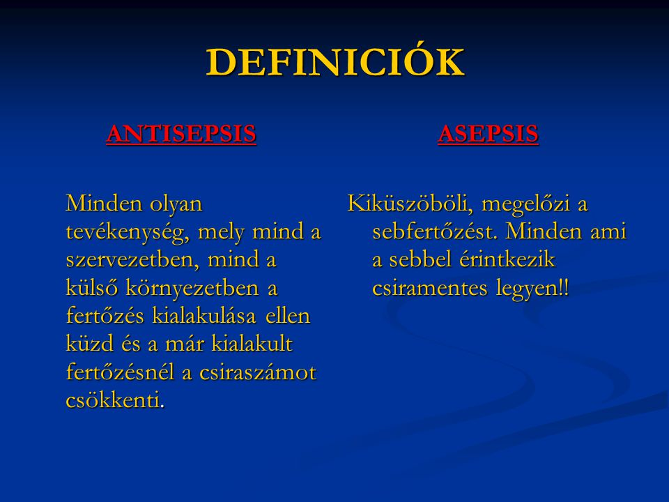 DEFINICIÓK ANTISEPSIS