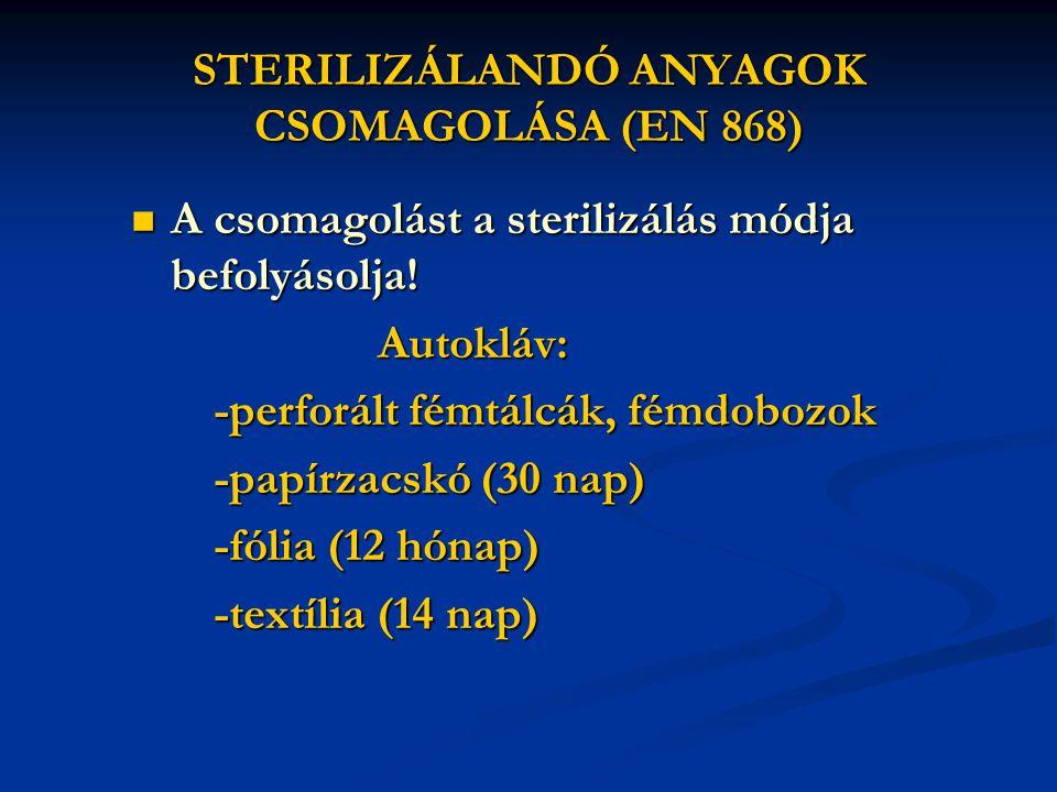 STERILIZÁLANDÓ ANYAGOK CSOMAGOLÁSA (EN 868)