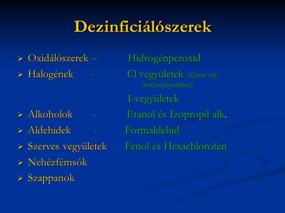Dezinficiálószerek Oxidálószerek – Hidrogénperoxid