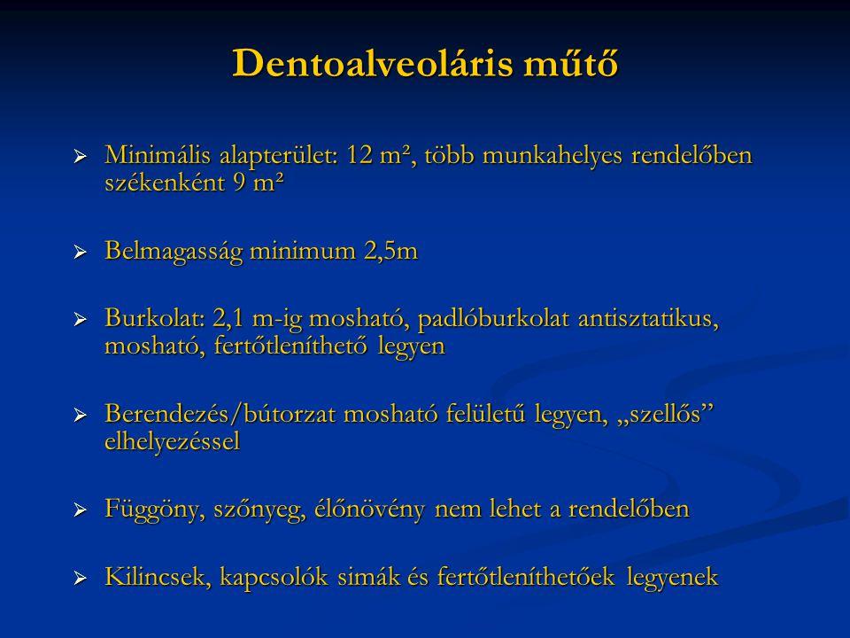 Dentoalveoláris műtő Minimális alapterület: 12 m², több munkahelyes rendelőben székenként 9 m². Belmagasság minimum 2,5m.