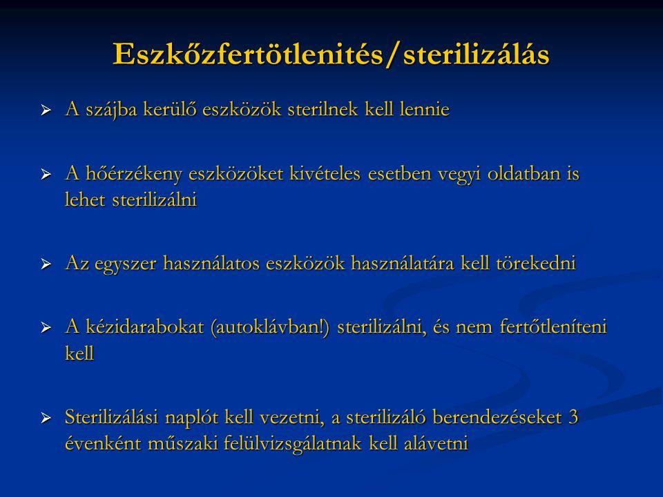 Eszkőzfertötlenités/sterilizálás