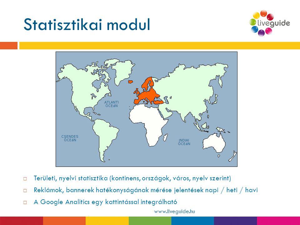 Statisztikai modul Területi, nyelvi statisztika (kontinens, országok, város, nyelv szerint)