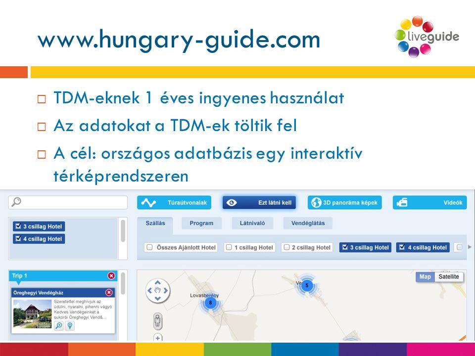 www.hungary-guide.com TDM-eknek 1 éves ingyenes használat