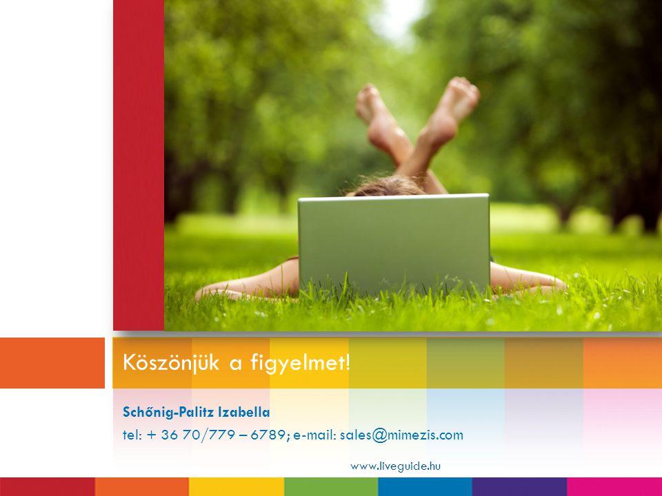 Köszönjük a figyelmet! Schőnig-Palitz Izabella tel: + 36 70/779 – 6789; e-mail: sales@mimezis.com.