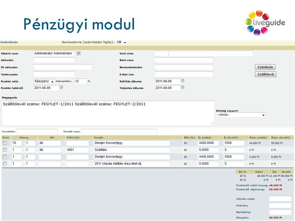 Pénzügyi modul Központi számlázási rendszer Számlázási jogcímek