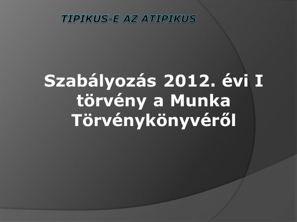 Szabályozás 2012. évi I törvény a Munka Törvénykönyvéről