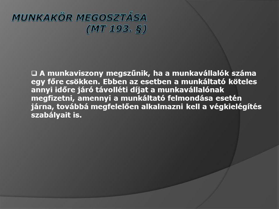 Munkakör megosztása (MT 193. §)