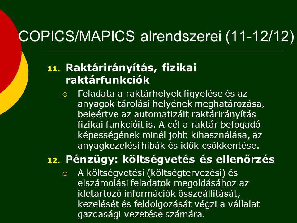 COPICS/MAPICS alrendszerei (11-12/12)