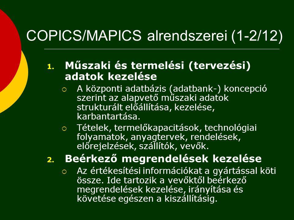 COPICS/MAPICS alrendszerei (1-2/12)