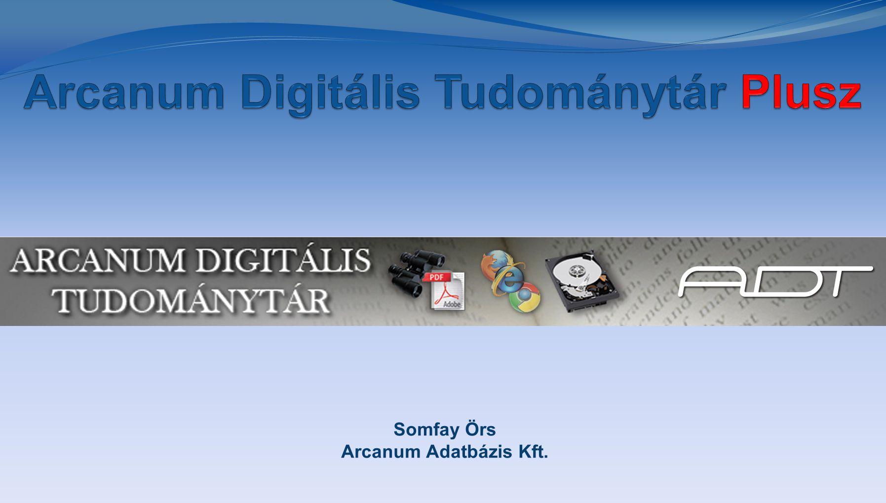 Arcanum Digitális Tudománytár Plusz