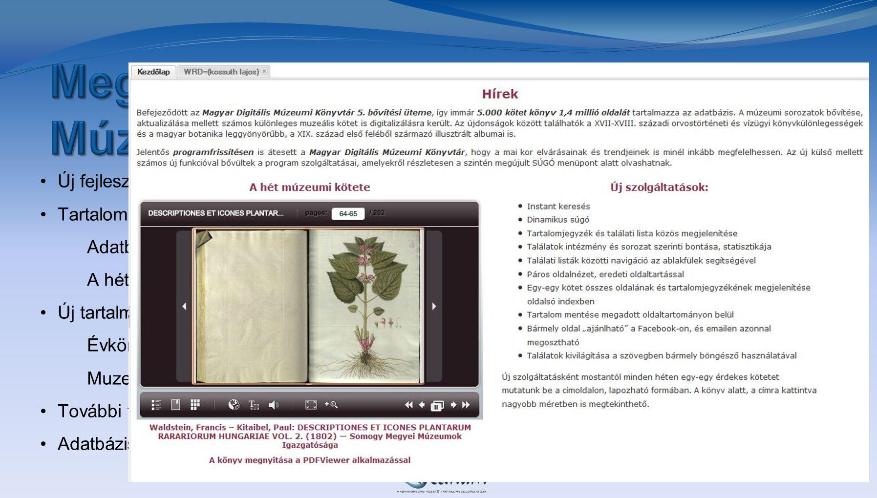 Megújult a Magyar Digitális Múzeumi Könyvtár