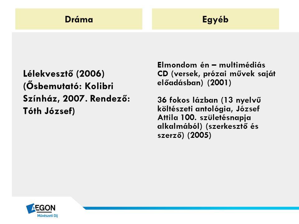 Dráma Egyéb. Lélekvesztő (2006) (Ősbemutató: Kolibri Színház, 2007. Rendező: Tóth József)