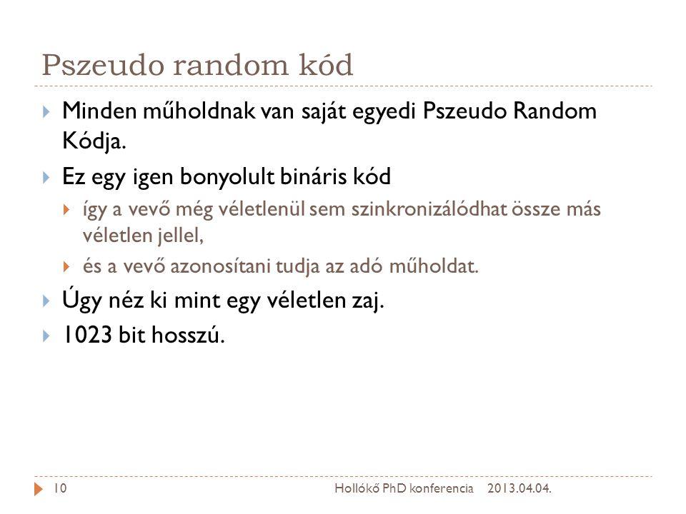 Pszeudo random kód Minden műholdnak van saját egyedi Pszeudo Random Kódja. Ez egy igen bonyolult bináris kód.